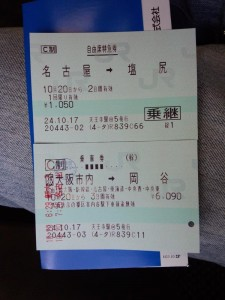 新大阪-岡谷間チケット